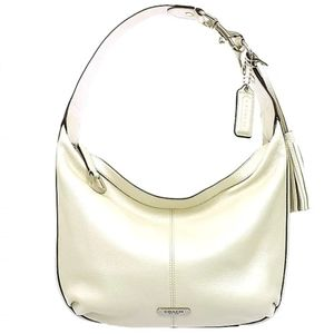 Coach Avery Pearl White Leather Hobo Shoulder Bag